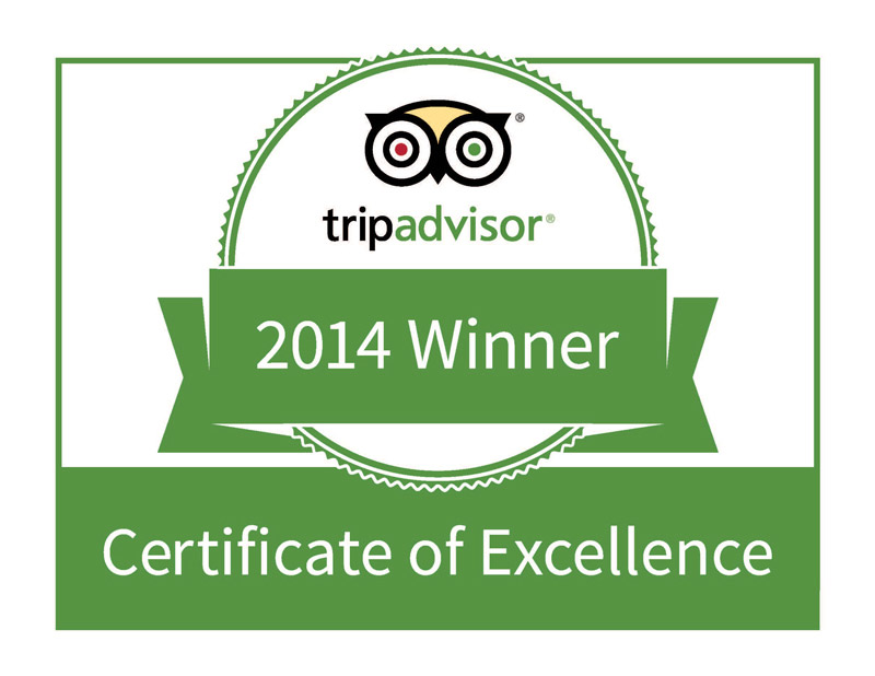 Sea Shells Beach Club Tripadvisor Certificate of Excellence 2014 Award